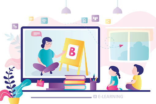 Elearning Banner Online Early Childhood Education Courses Free Online Preschool Games Home Schooling Stock Illustration Download Image Now Istock