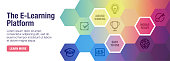 E-Learning X vector banner illustration also contains icons for the topic.