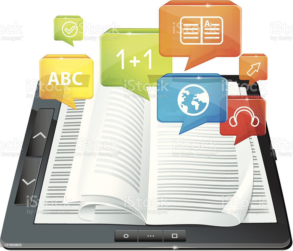 e-learning concept - electronic book royalty-free stock vector art