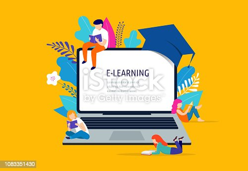 istock E-learning concept illustration. Big laptop with a square academic cap 1083351430