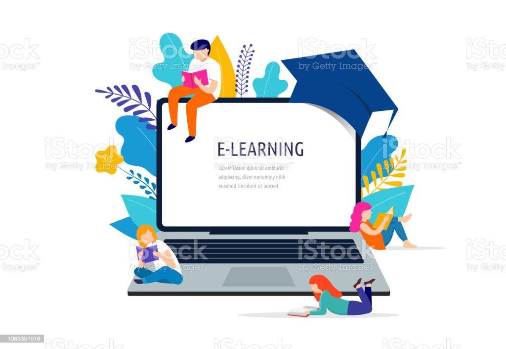 Ilustração do conceito de aprendizagem. Portátil grande com uma tampa quadrada acadêmica - ilustração de arte em vetor