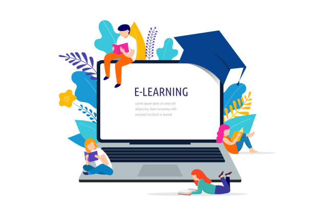 E-learning concept illustration. Big laptop with a square academic cap E-learning concept illustration. Big laptop with a graduate cap, mortarboard, small people scene students stock illustrations