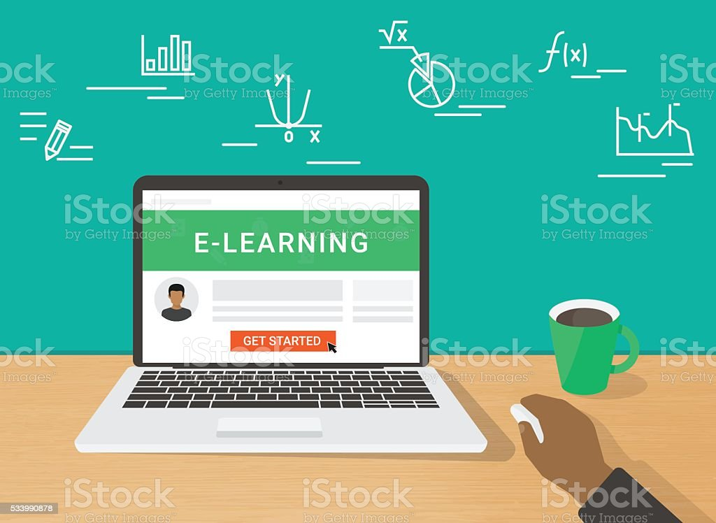 E-learning concept illustration of human hand working using laptop vector art illustration