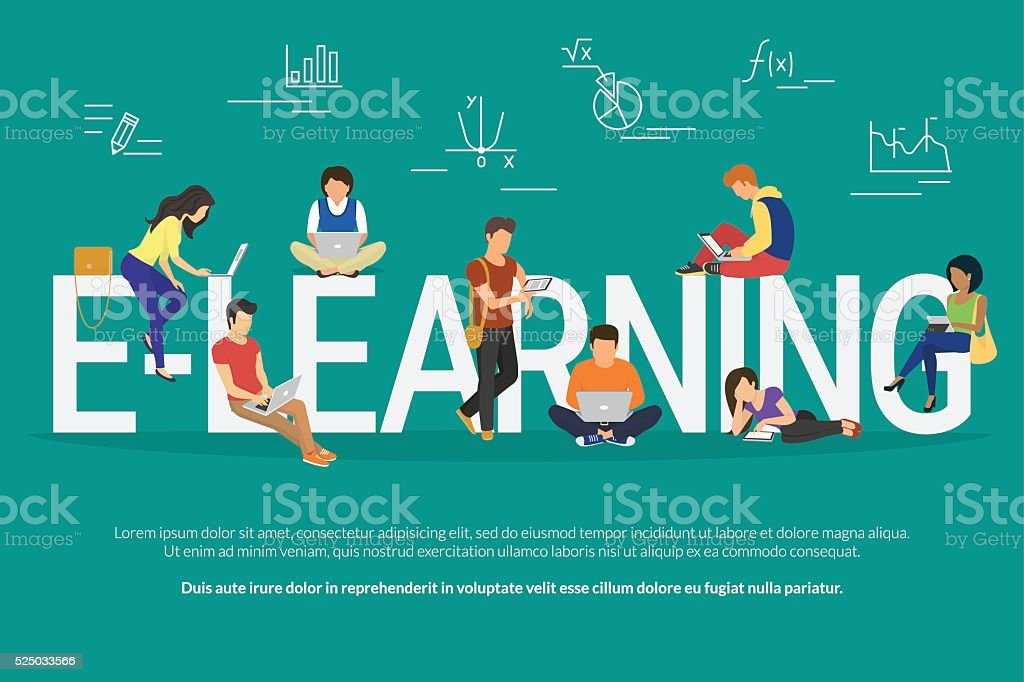E-learning concept illustration vector art illustration