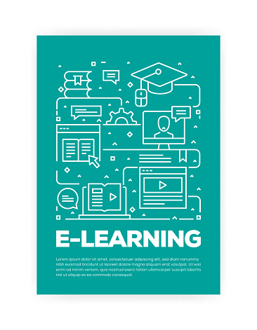 E-Learning Concept Line Style Cover Design for Annual Report, Flyer, Brochure.