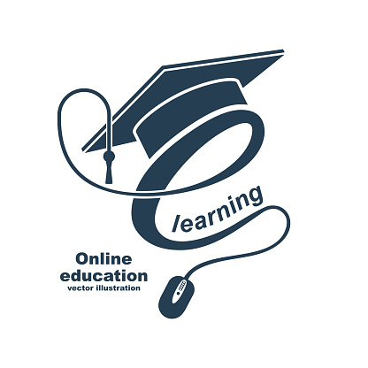 E-learning concept. Logo learning online center and graduation