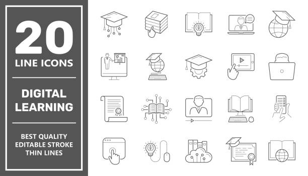 E-learning, digital learning. online education elements thin line web icon set. Outline icons collection. Simple vector illustration. Editable Stroke vector art illustration