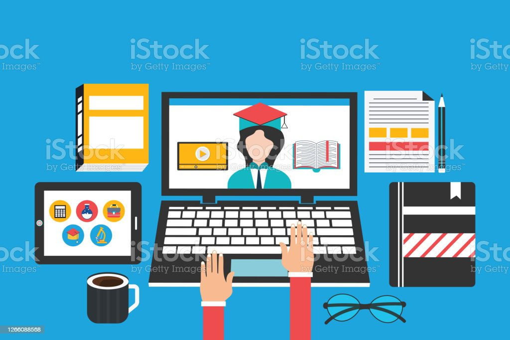 Elearning Education And University Banner Student S Desktop With Laptop Books And Hands Top View Stock Illustration Download Image Now Istock
