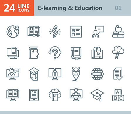 E-learning & Education - line vector icons
