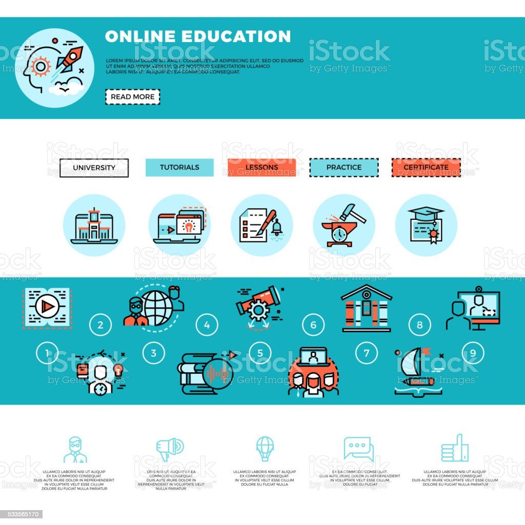 Elearning Education Or Training Courses Web Design Template Stock ...