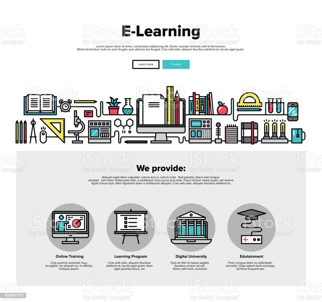 Elearning Flat Line Web Graphics Stock Vector Art & More Images of ...