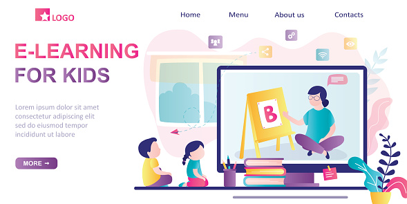 E-learning for kids, landing page template. Online early childhood education courses. Free online preschool games,