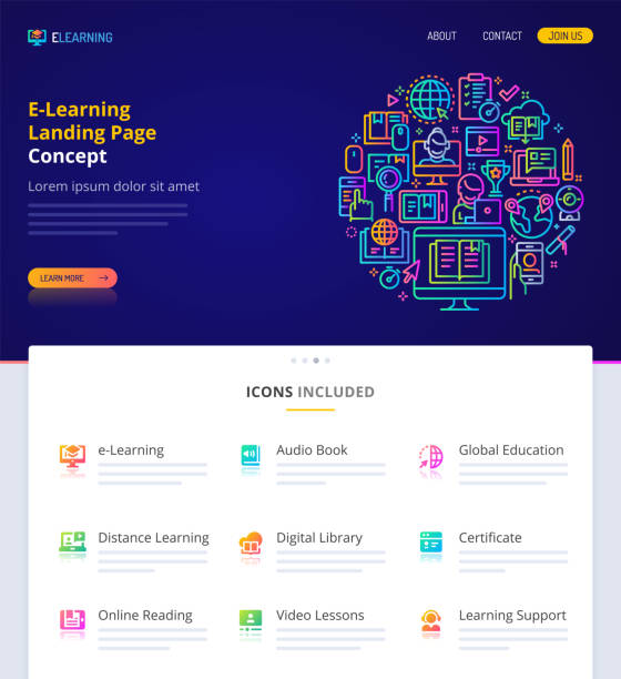 E-Learning Home Page Design Concept. Website design, logo, header illustration and icons related to e-learning and online education. Landing page graphical user interface. Clean home page template and vector graphic element set.  (EPS10) website templates stock illustrations