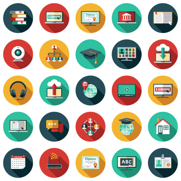 E-Learning Icon Set A set of icons. File is built in the CMYK color space for optimal printing. Color swatches are global so it's easy to edit and change the colors. flat design icons stock illustrations