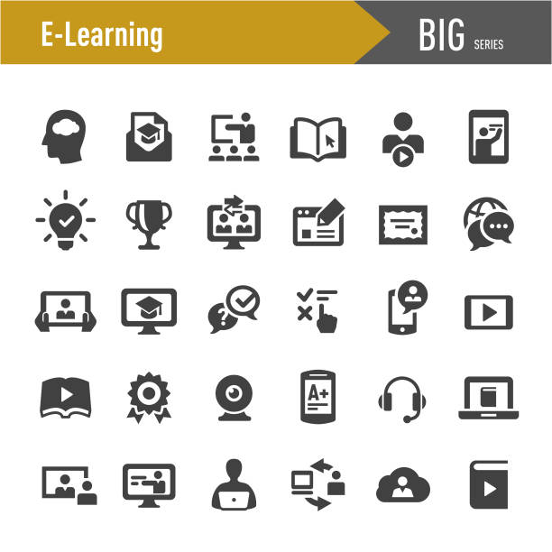 e-learning icons - big series - online learning stock illustrations