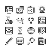 Elearning icons set. Online learning, distance education concepts. Pixel perfect. Linear, outline symbols. Thin line design. Vector line icons set