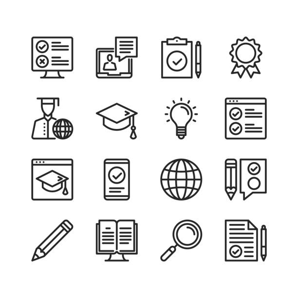 Elearning icons set. Online learning, distance education concepts. Pixel perfect. Linear, outline symbols. Thin line design. Vector line icons set Elearning icons set. Online learning, distance education concepts. Pixel perfect. Linear, outline symbols. Thin line design. Vector line icons set students stock illustrations