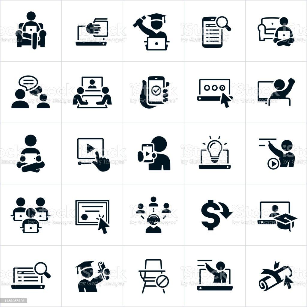 網路學習圖示 - 免版稅一個人圖庫向量圖形