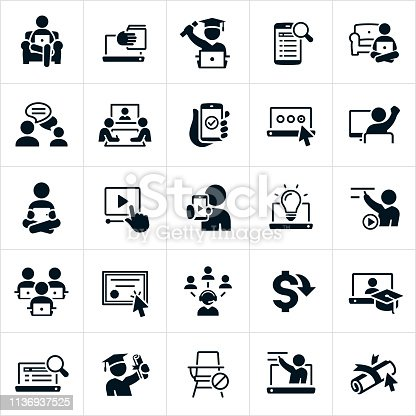 A set of e-learning icons. The icons include people or students learning from home on their devices using the internet, webinars, online classes, online instruction, online degree, graduates, learning, teachers, professors and other related icons.