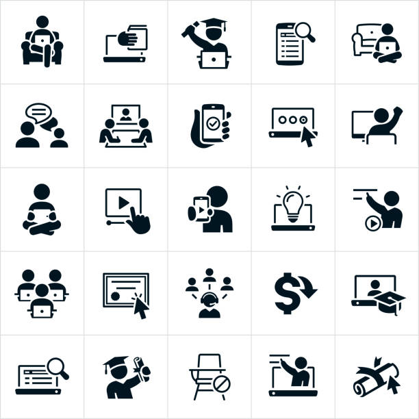 E-Learning Icons A set of e-learning icons. The icons include people or students learning from home on their devices using the internet, webinars, online classes, online instruction, online degree, graduates, learning, teachers, professors and other related icons. showing stock illustrations