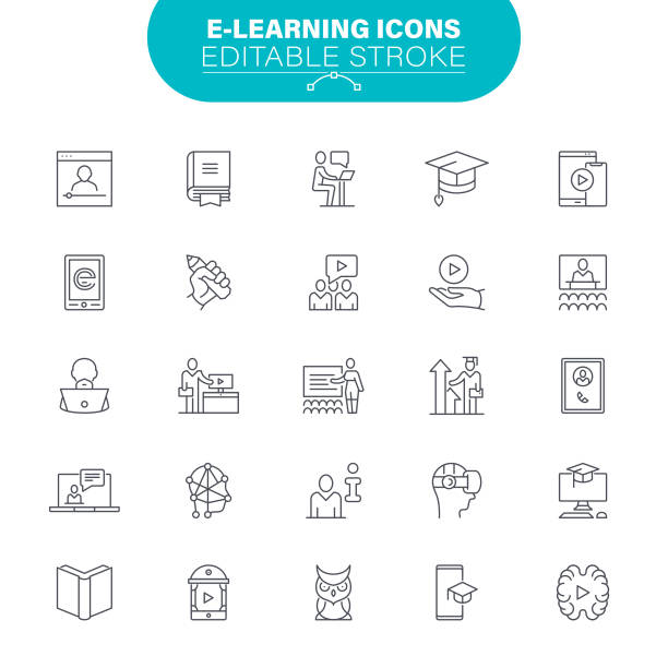 E-Learning Icons vector art illustration