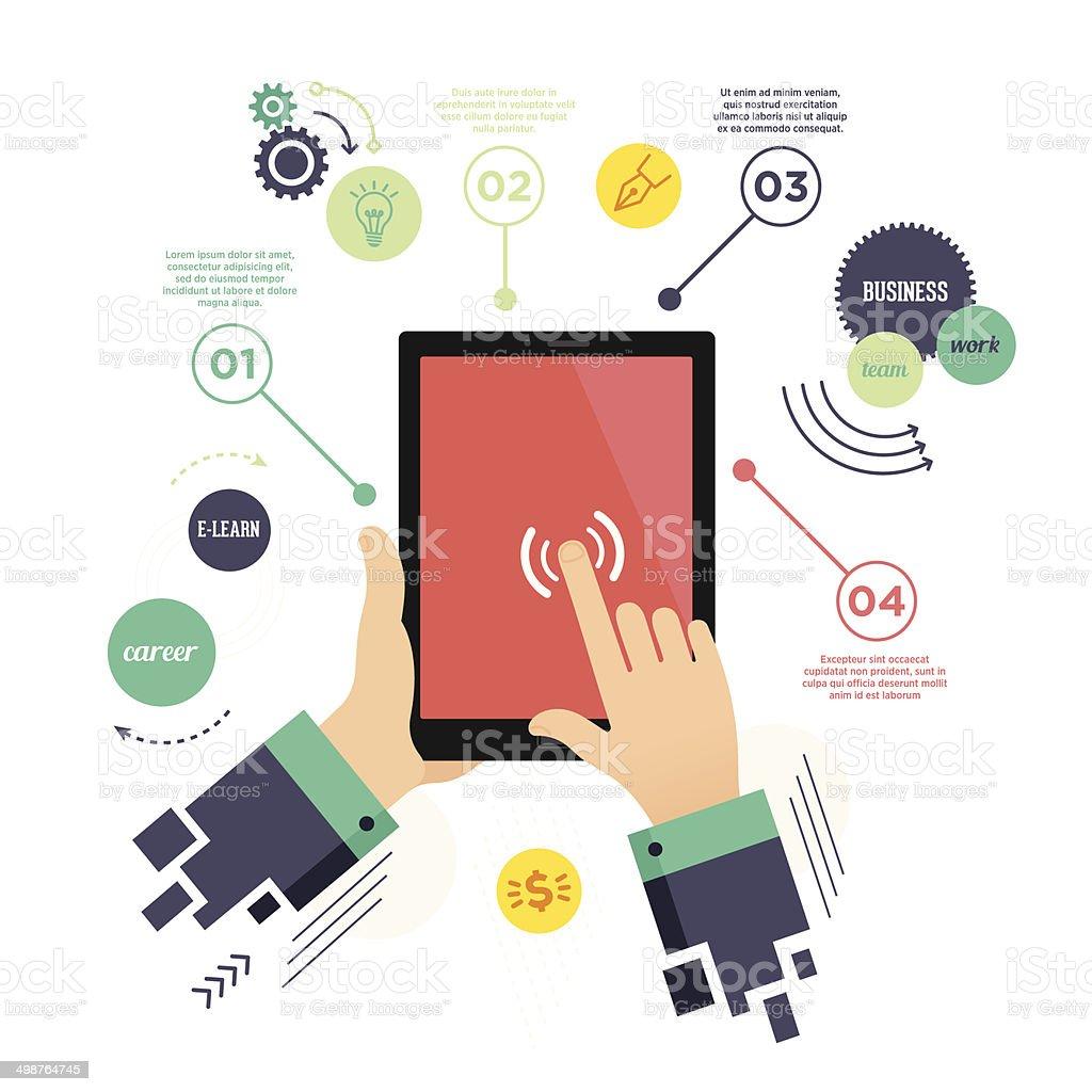 E-Learning Infographic vector art illustration