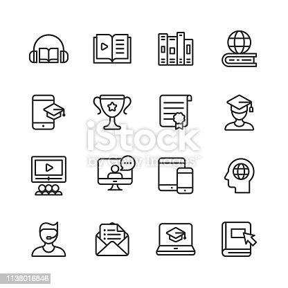 16 E-Learning Outline Icons.