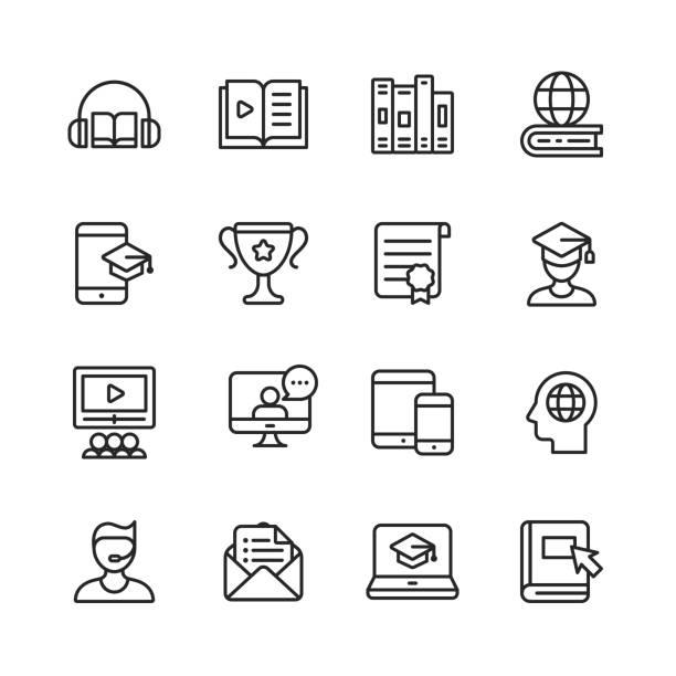 stockillustraties, clipart, cartoons en iconen met e-learning lijn iconen. bewerkbare lijn. pixel perfect. voor mobiel en web. bevat dergelijke pictogrammen zoals boek, audioboek, webinar, online onderwijs, trophy. - youtube
