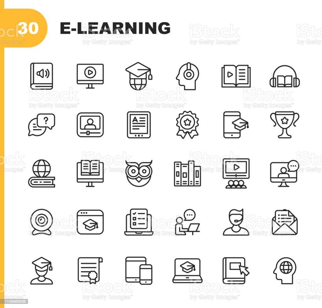 Ícones da linha do E-aprendizado. Traçado editável. Pixel perfeito. Para Mobile e Web. Contém ícones como livro, AudioBook, Webinar, educação online, troféu. - Vetor de Apoio royalty-free