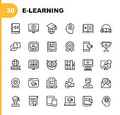 E-Learning Line Icons. Editable Stroke. Pixel Perfect. For Mobile and Web. Contains such icons as Book, AudioBook, Webinar, Online Education, Trophy.
