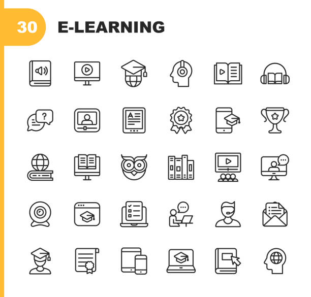 E-Learning Line Icons. Editable Stroke. Pixel Perfect. For Mobile and Web. Contains such icons as Book, AudioBook, Webinar, Online Education, Trophy. 30 E-Learning Outline Icons. training stock illustrations
