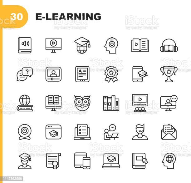 Vetores de Ícones Da Linha Do Eaprendizado Traçado Editável Pixel Perfeito Para Mobile E Web Contém Ícones Como Livro Audiobook Webinar Educação Online Troféu e mais imagens de Apoio