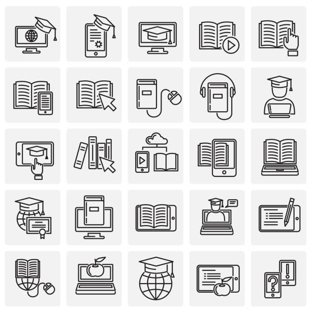 E-Learning line icons set on squares background for graphic and web design, Modern simple vector sign. Internet concept. Trendy symbol for website design web button or mobile app. E-Learning line icons set on squares background for graphic and web design, Modern simple vector sign. Internet concept. Trendy symbol for website design web button or mobile app reference book stock illustrations
