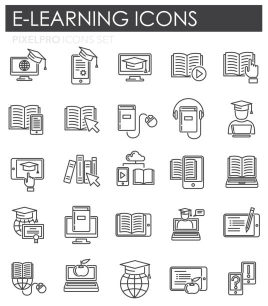 E-Learning line icons set on white background for graphic and web design, Modern simple vector sign. Internet concept. Trendy symbol for website design web button or mobile app. E-Learning line icons set on white background for graphic and web design, Modern simple vector sign. Internet concept. Trendy symbol for website design web button or mobile app reference book stock illustrations