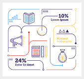 Vector Infographic Line Design Elements for E-Learning