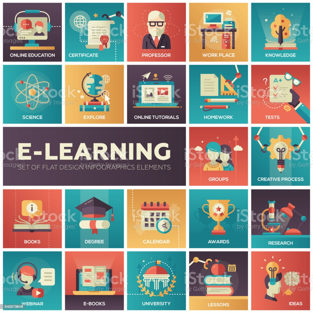 E-learning - modern flat design isquare icons vector art illustration