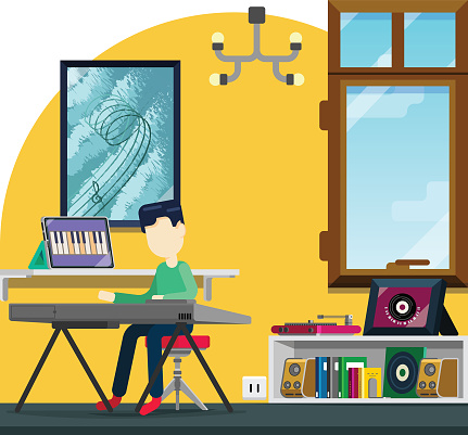 E-learning music instrument from home, child learning piano