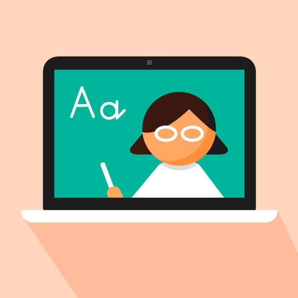 E-learning of Language school subject concept vector art illustration