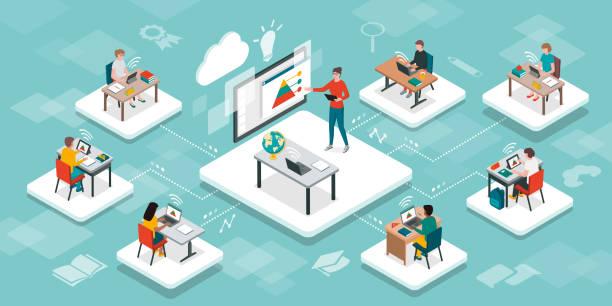 ilustrações de stock, clip art, desenhos animados e ícones de e-learning, online education and virtual classroom - somente crianças