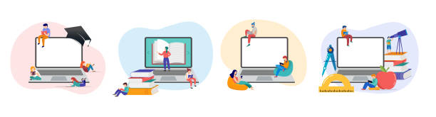 E-learning, online education at home. Modern vector illustration concepts for website and mobile website development vector art illustration