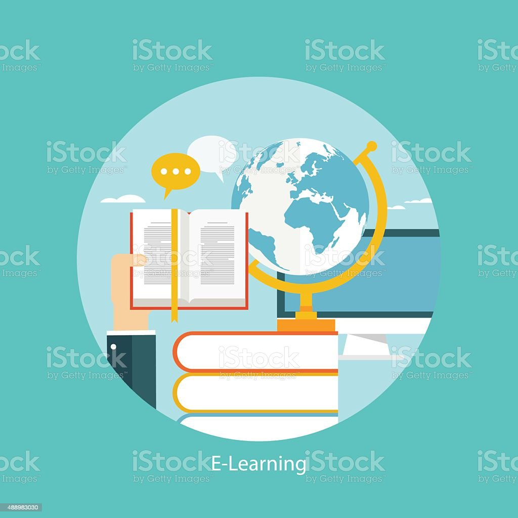 E-learning, online education concept, flat styled icon vector art illustration