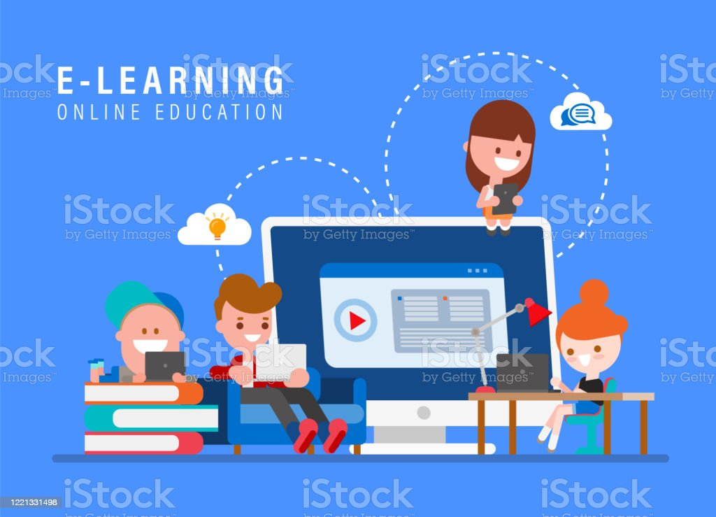Elearning Online Education Concept Illustration Kids Studying At Home Via Internet Young People Cartoon In Flat Design Style Vector Illustration Stock Illustration Download Image Now Istock