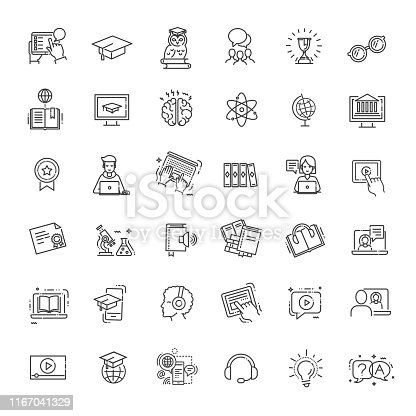 Thin line icons set. Icons for online education
