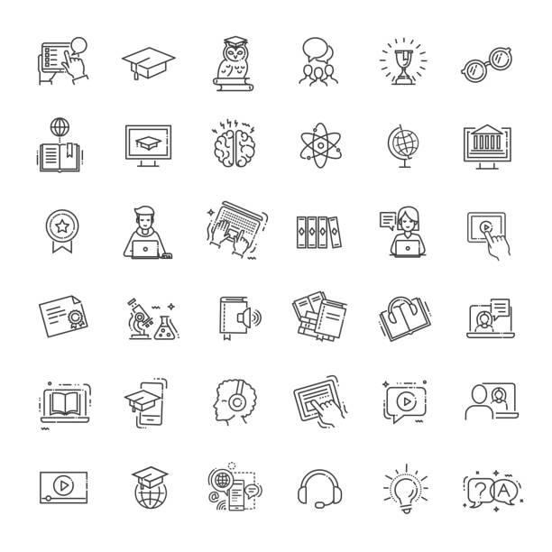 illustrazioni stock, clip art, cartoni animati e icone di tendenza di e-learning, elementi di educazione online - set minimo di icone web con linea sottile - studenti