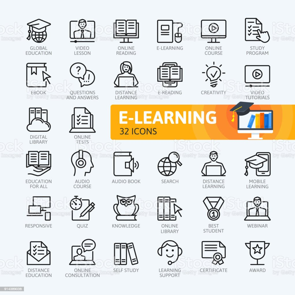 E-Learning, Online-Bildung Elemente - minimal dünne Linie Web Icon-Set. Die Symbolsammlung zu skizzieren. Einfachen Vektor-Illustration. Lizenzfreies elearning onlinebildung elemente minimal dünne linie web iconset die symbolsammlung zu skizzieren einfachen vektorillustration stock vektor art und mehr bilder von akademisches lernen