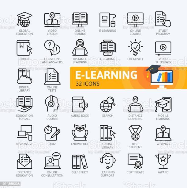 Elearning online education elements minimal thin line web icon set vector id914389038?b=1&k=6&m=914389038&s=612x612&h=qw6lqf75rfbjvjk0s ba5fa8snzvgekn4lkxifoxx4i=
