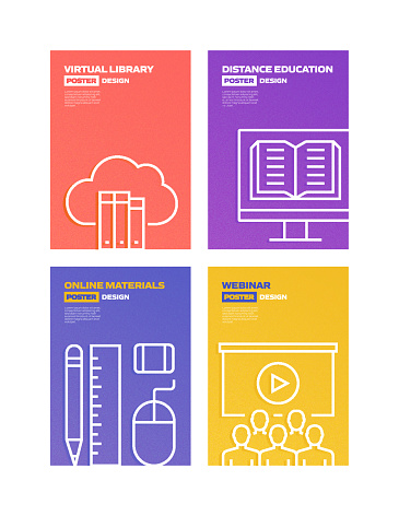 E-Learning, Online Education, Home Schooling Related Brochure, Cover, Poster Design Template. Vector Illustration