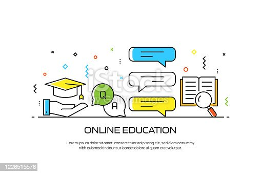 E-Learning, Online Education, Home Schooling Related Modern Line Style Illustration