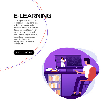 E-Learning, Online Education Related Vector Illustration for Landing Page Template, Website Banner, Advertisement and Marketing Material, Online Advertising, Business Presentation etc.