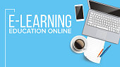 E-learning, Online Education Web Banner Vector Template